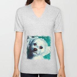 Maltese dog - Pelusa - by LiliFlore Unisex V-Neck