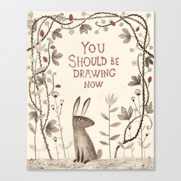 Rabbit says 'draw'! Canvas Print