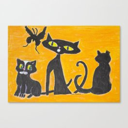 Black Cats and a Butterfly Canvas Print