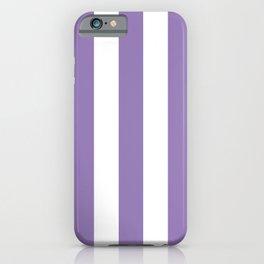 Lavender purple - solid color - white vertical lines pattern iPhone Case