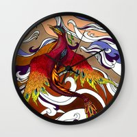 phoenix Wall Clocks featuring Phoenix by Peter Fulop