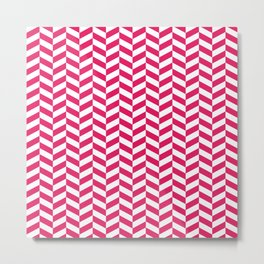 Raspberry Red Herringbone Pattern Metal Print