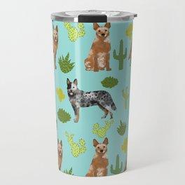 Australian Cattle Dog cactus pet friendly dog breed dog pattern art Travel Mug