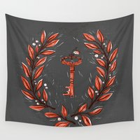 key Wall Tapestries featuring Symbol Key by pam wishbow
