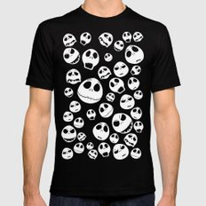 Halloween Jack Skellingtons emoticon face iPhone 4 4s 5 5c 6, pillow case, mugs and tshirt Black Mens Fitted Tee MEDIUM