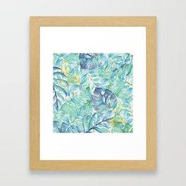 Modern teal green yellow watercolor tropical leaves Framed Art Print