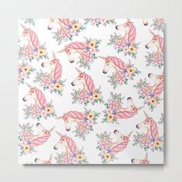 Pink lilac yellow green watercolor magical unicorn floral Metal Print