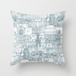 Edinburgh toile denim white Throw Pillow