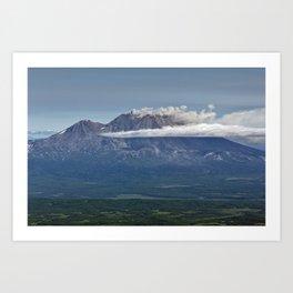 Summer mountain landscape, scenery erupting volcano on Kamchatka Peninsula Art Print