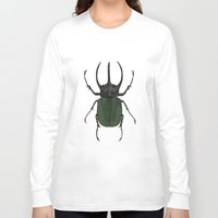 atlas Long Sleeve T-shirts featuring Atlas Beetle Insect Digital Watercolor Painting Art Print- minimalist art - gallery wall art - anima by Kelsi Eldredge