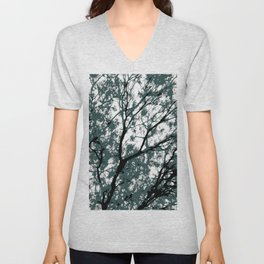 tree branch with green leaves abstract background Unisex V-Neck