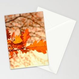 Oak Leaves with Sunset Stationery Cards
