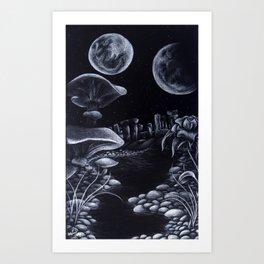 Moons & Mushrooms Art Print