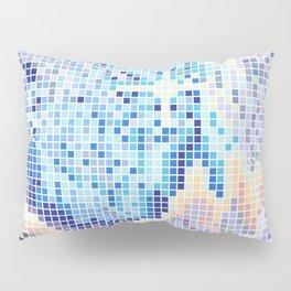 Pixelated Nebula Blue Pillow Sham