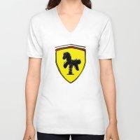 ferrari V-neck T-shirts featuring Ferrari cute by le.duc