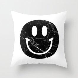 Black Marble Smily Face Throw Pillow