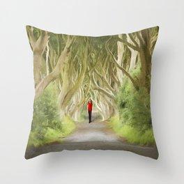 Through the Hedges Throw Pillow