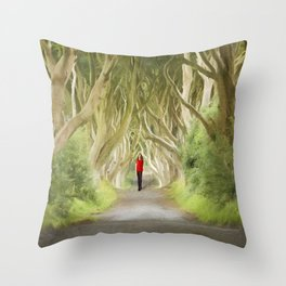 Through the Hedges Throw Pillow