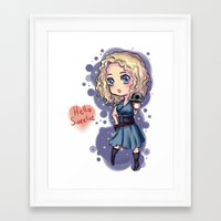 river song Framed Art Prints featuring Chibi River Song   by Midnight Tardis