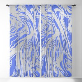 Marbled Blue Sheer Curtain
