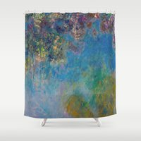 monet Shower Curtains featuring Wisteria by Claude Monet by Palazzo Art Gallery