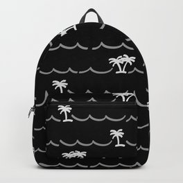 Tropica Night - black and white tropical pattern Backpack