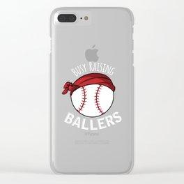 Busy Raising Ballers Baseball Mom Mama Softball Tee Shirt Baseball Mom Shirts Clear iPhone Case