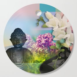 Colorful Buddha & Floral Collage Cutting Board