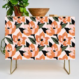 Bold orange poppy on a soft pink base Credenza