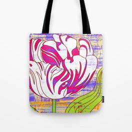 Colorful flower pattern, tulips print Tote Bag