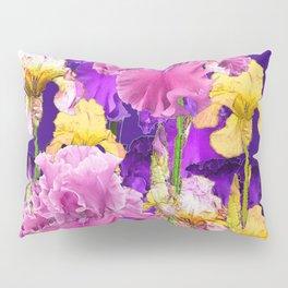 Decorative Contemporary   Pink Yellow & Purple Iris Flowers Pillow Sham
