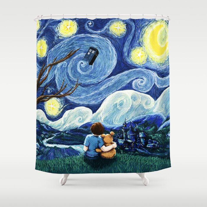 Watching The Tardis Flying In Starry Night Shower Curtain