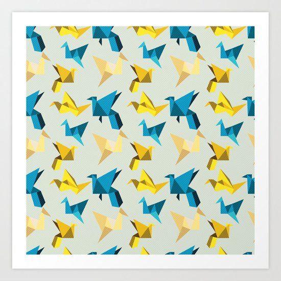 paper cranes in flight Art Print