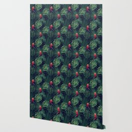 Night tropical flowers pattern Wallpaper