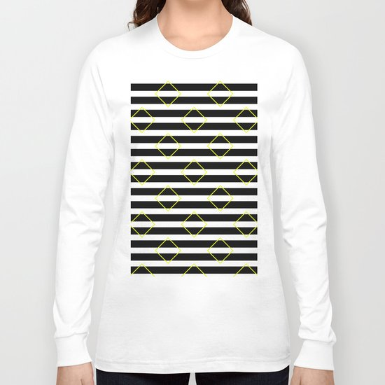 Black And White Stripes And Yellow Squares Pattern Long Sleeve T-shirt