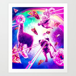 Laser Eyes Space Cat With Llama, Pug - Rainbow Art Print