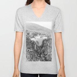 California Poppy Black & White Unisex V-Neck