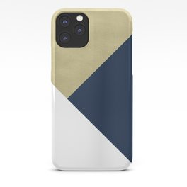 Gold meets Navy Blue & White Geometric #1 #minimal #decor #art #society6 iPhone Case