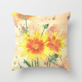 Vibrant Orange and Yellow Flowers with Ink Splotches Throw Pillow