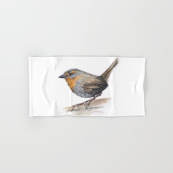 Chucao Bird Watercolor Animal Portrait Hand & Bath Towel