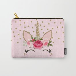 Pink & Gold Cute Floral Unicorn Carry-All Pouch