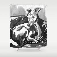 greyhound Shower Curtains featuring Greyhound -4 by Jenn Steffey