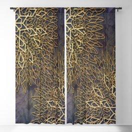 Gold Mandalas on Violet Background Blackout Curtain