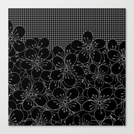 Cherry Blossom Grid Black Canvas Print