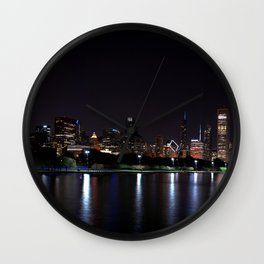 Chicago night skyline with fireworks, Usa. Wall Clock