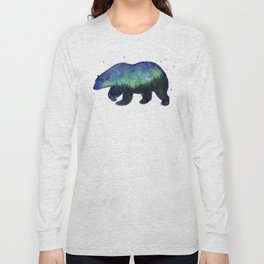 Polar Bear Silhouette with Northern Lights Galaxy Long Sleeve T-shirt
