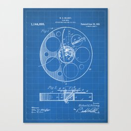 Film Reel Patent - Classic Cinema Art - Blueprint Canvas Print