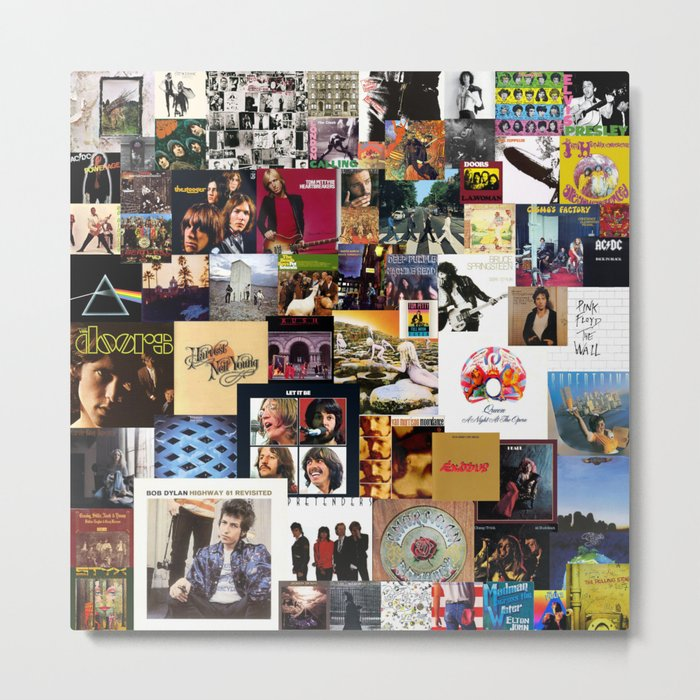 Classic Rock And Roll Albums Collage Metal Print