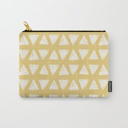 Mustard yellow white hand painted geometrical triangles Carry-All Pouch