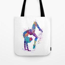 Girl Gymnastics Tumbling Colorful Watercolor Artwork Tote Bag